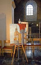 Toile de Brigitte Bargon exposée dans la Collégiale de Celles