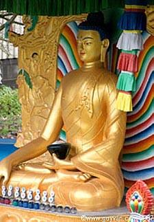 Parc du Château de Fond l'Evêque : Statue de Bouddha