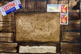 Toile envoyée dans le cadre de Mail Art Around the World